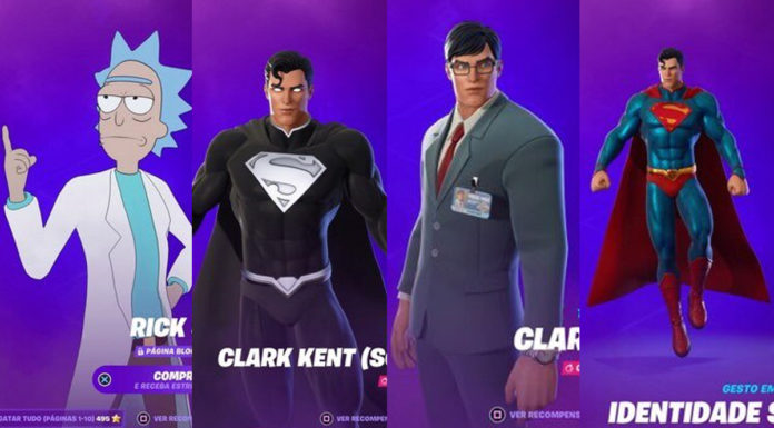 Fortnite skins Rick Sanchez e Superman
