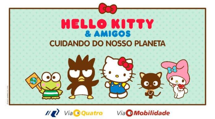 Foto de divulgação para a campanha de sustentabilidade da Hello Kitty no metrô.