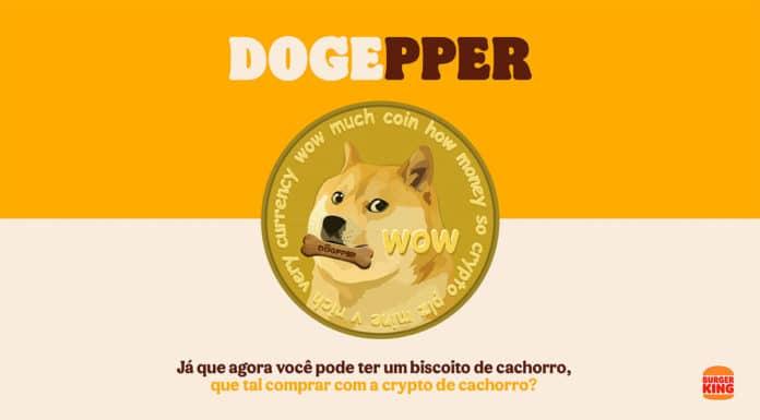 Campanha da venda de Dogpper com Dogecoin.