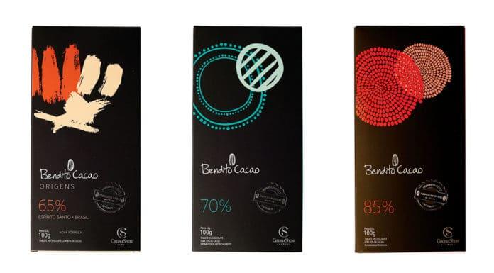 Tablete Cacau Show Bendito Cacao 65%, 70% e 85% que ganharam o selo vegano.