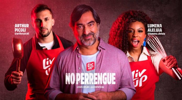Foto de divulgação com Arthur, Zeca Camargo e Lumena para o reality show da Liv Up.