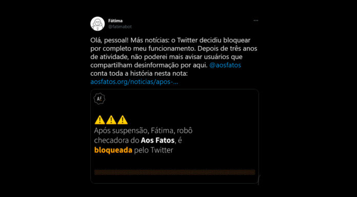 Twitter bloqueia bot Fátima