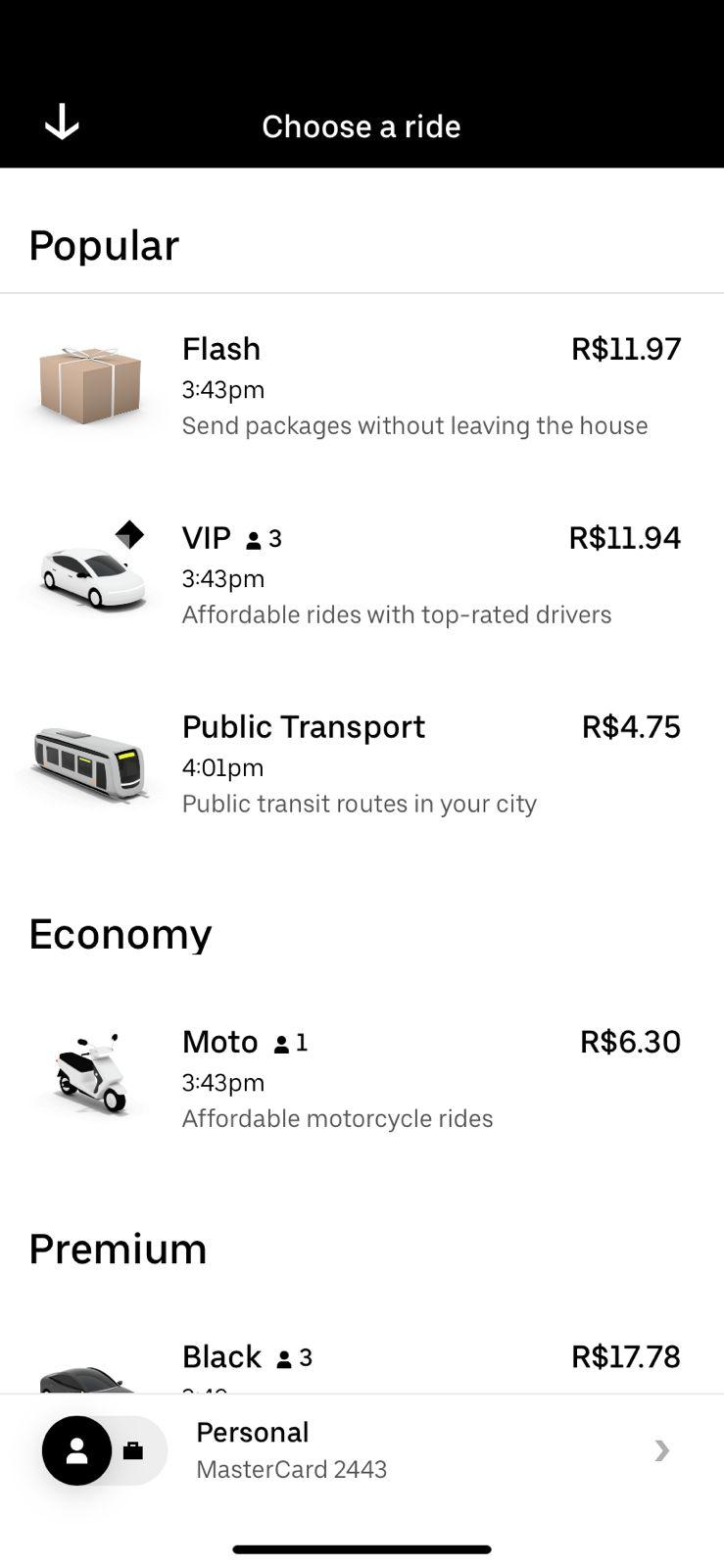 Preços Uber Moto
