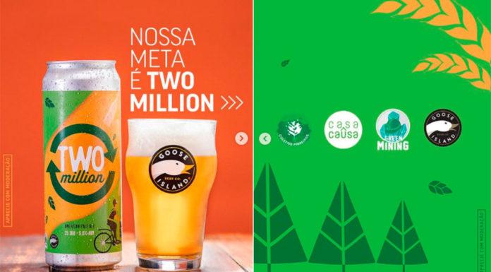 Cerveja da Goose Island pela meta batida.