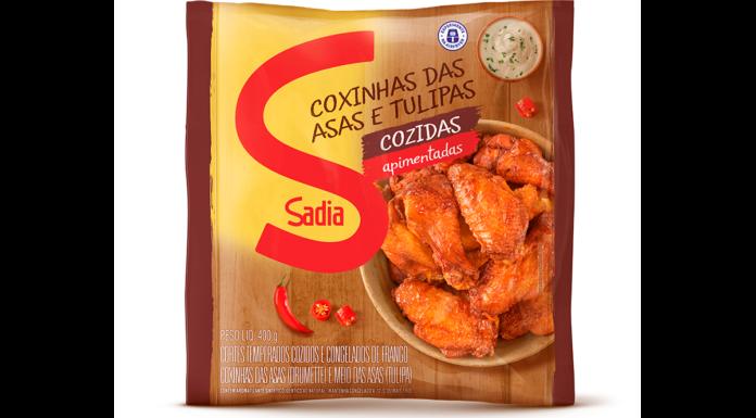 Coxinhas das Asas e Tulipas Cozidas Apimentadas Sadia.