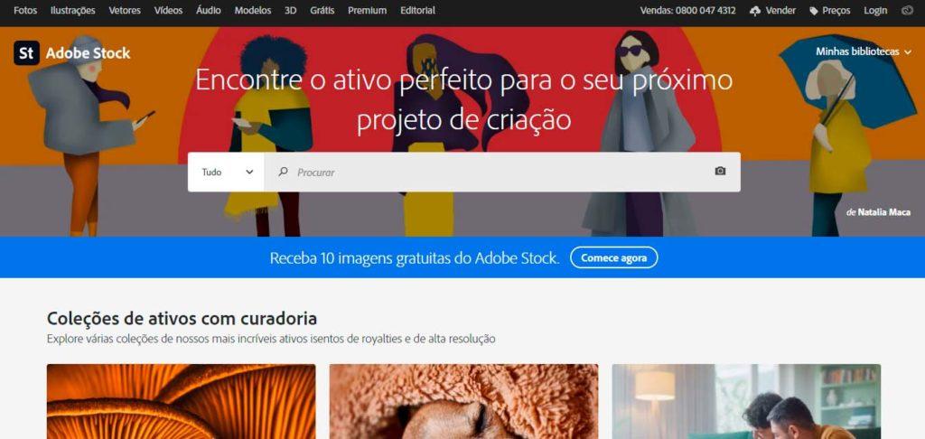 Página inicial do Adobe Stock