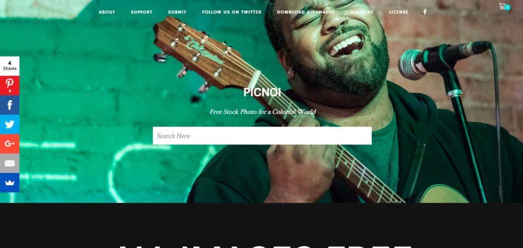 Página inicial do Picnoi