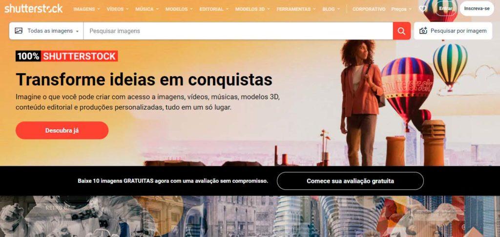Página inicial do Shutterstock