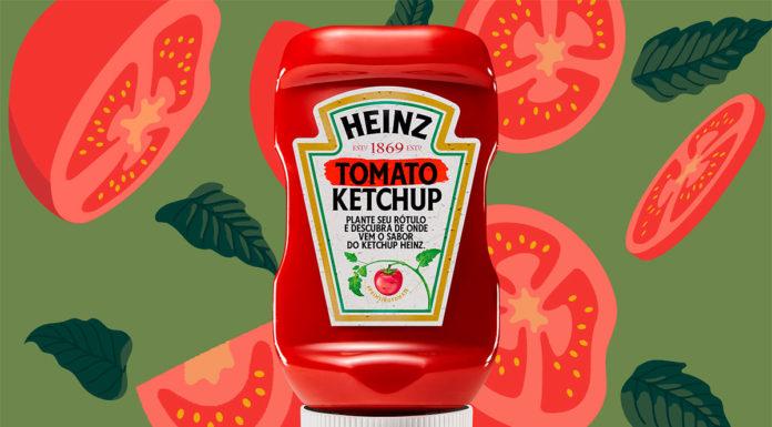 Ketchup Heinz com rótulo plantável.