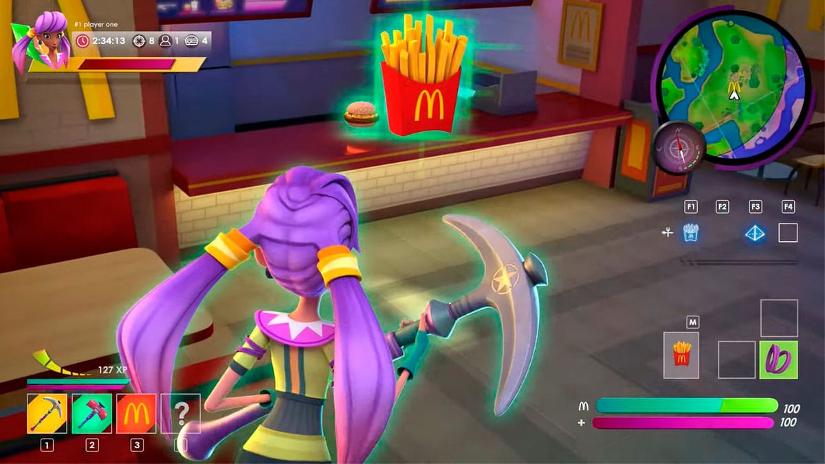 A foto é um frame da campanha do McDonald's com a promoção da BGS, que apresenta um jogo como se fosse Fortnite, em que a personagem está pegando uma McFritas em frente ao balcão de atendimento.