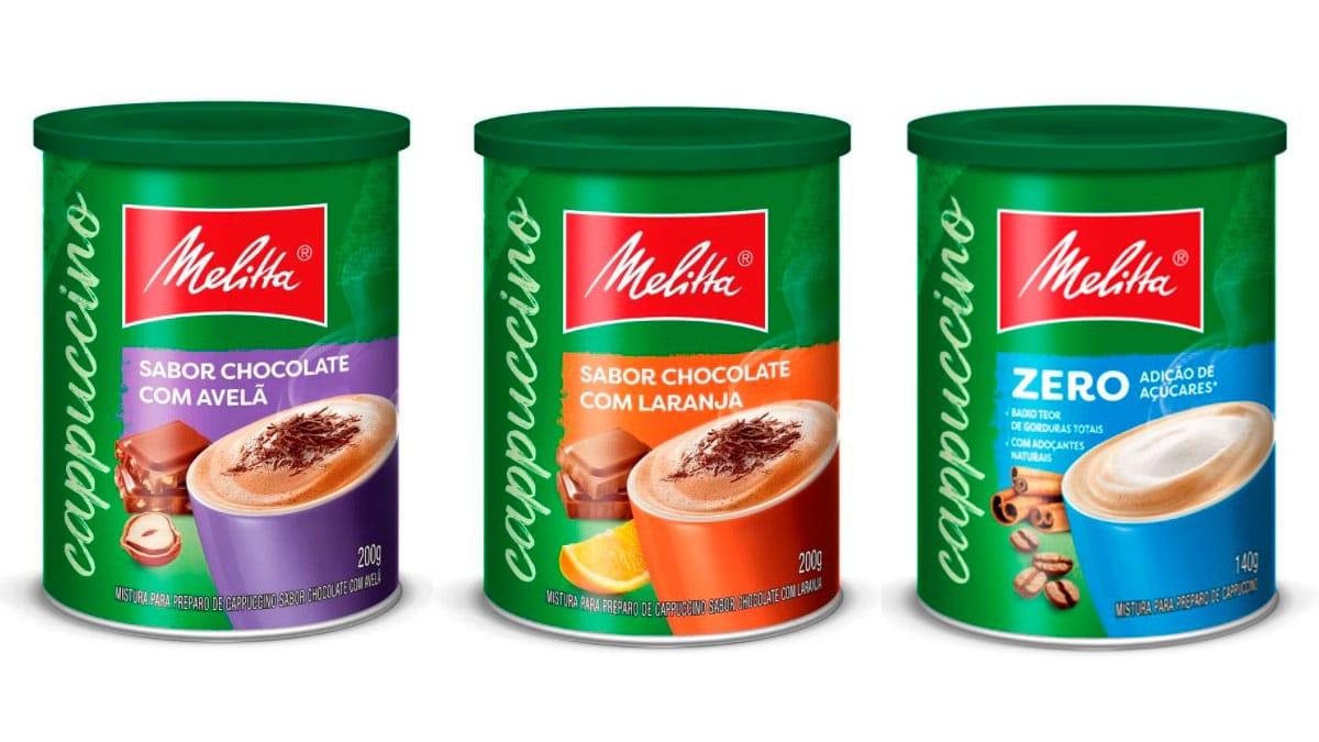 Cappuccinos Melitta Chocolate com Avelã, Chocolate com Laranja e Zero Açúcar.