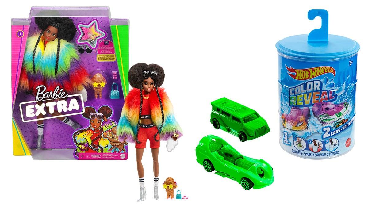 A foto apresenta como dia de presente para o Dia das Crianças uma Barbie Extra negra e um Hot Wheels Color Reveal.