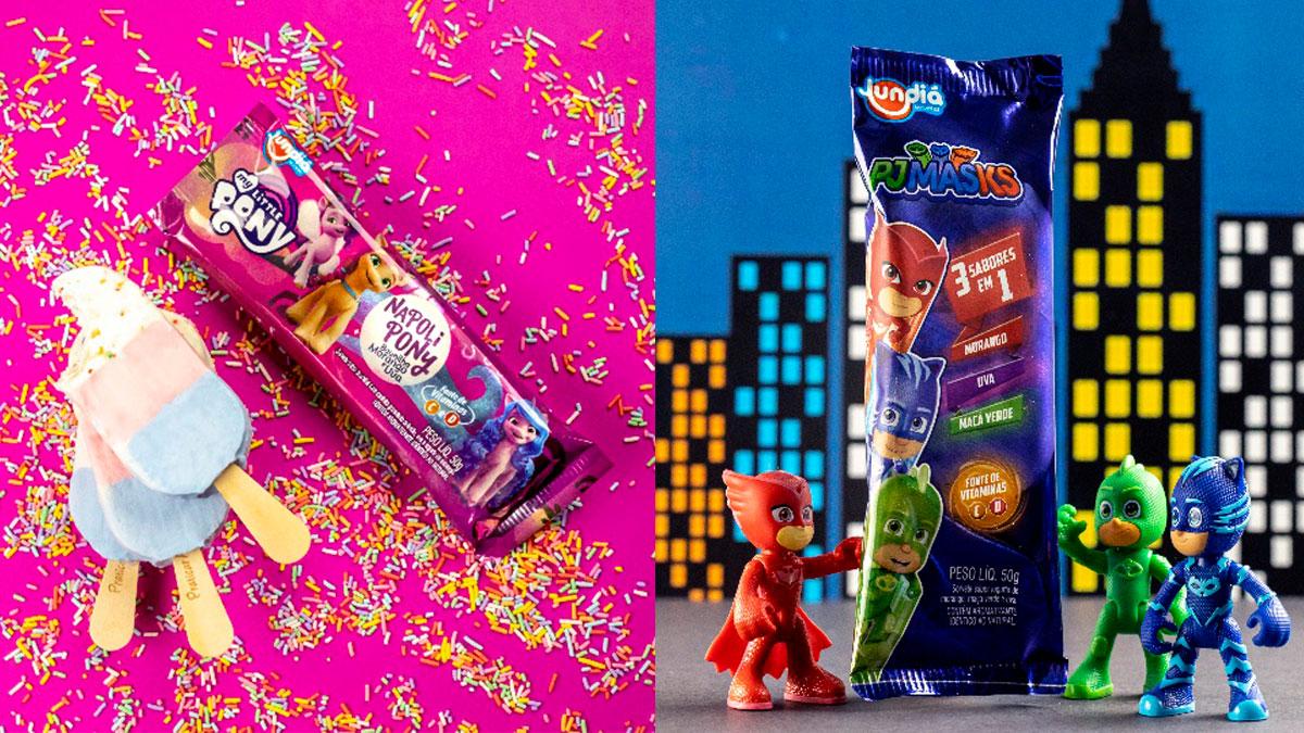 A foto apresenta os sorvetes de My Little Pony e PJ Masks da Jundiá.